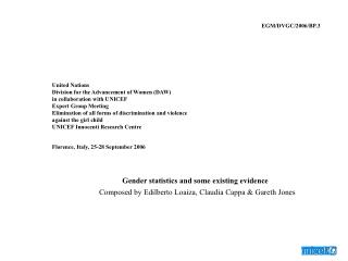 Gender statistics and some existing evidence