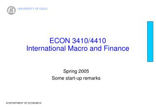 ECON 3410/4410  International Macro and Finance