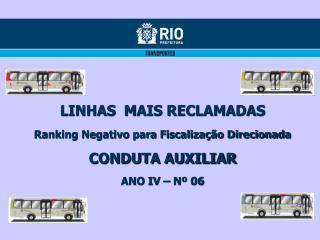LINHAS  MAIS RECLAMADAS Ranking Negativo para Fiscalização Direcionada CONDUTA AUXILIAR