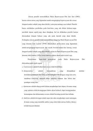 Alasan  peneliti  memodifikasi  Skala  Kepercayaan  Diri  dari  Sari  (2002)