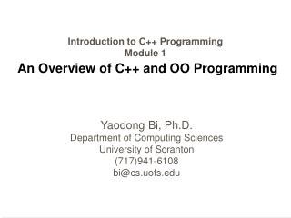 Introduction to C Programming Module 1  An Overview of C and OO Programming