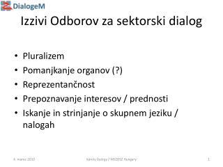 Izzivi Odborov za sektorski dialog