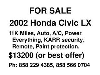 FOR SALE 2002 Honda Civic LX