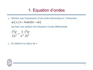1. Equation d'ondes