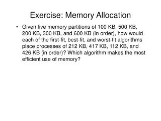Exercise: Memory Allocation