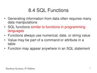 8.4 SQL Functions