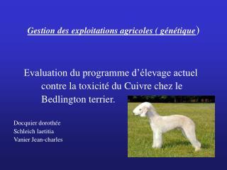 Gestion des exploitations agricoles ( génétique )