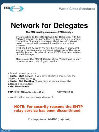 Network for Delegates