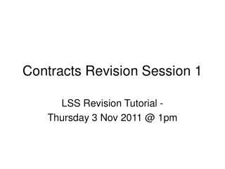 Contracts Revision Session 1