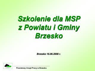 Szkolenie dla MSP  z Powiatu i Gminy Brzesko Brzesko 16.06.2008 r.