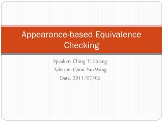 Appearance-based Equivalence Checking