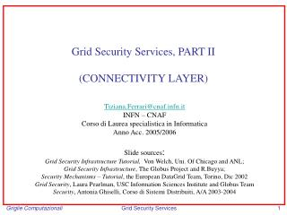 Grid Security Services, PART II (CONNECTIVITY LAYER)