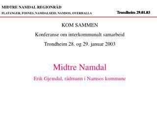 MIDTRE NAMDAL REGIONRÅD FLATANGER, FOSNES, NAMDALSEID, NAMSOS, OVERHALLA