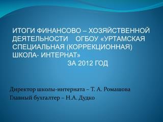 Директор школы-интерната – Т. А. Ромашова Главный бухгалтер – Н.А. Дудко