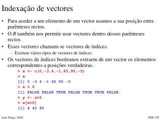 Indexa��o de vectores