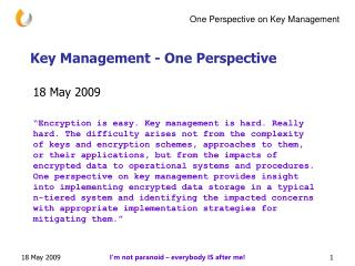 Key Management - One Perspective