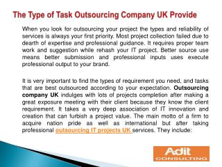 The Type of Task Outsourcing Company UK Provide