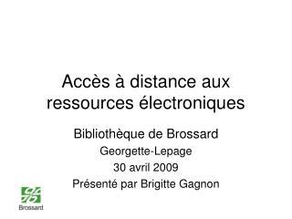 Accès à distance aux ressources électroniques