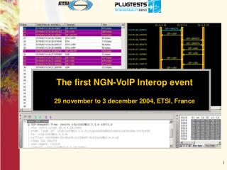 The first NGN-VoIP Interop event 29 november to 3 december 2004, ETSI, France