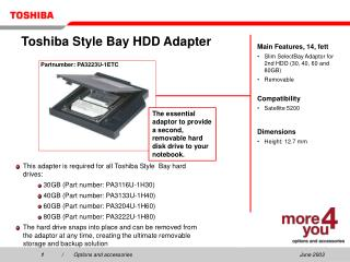 Toshiba Style Bay HDD Adapter
