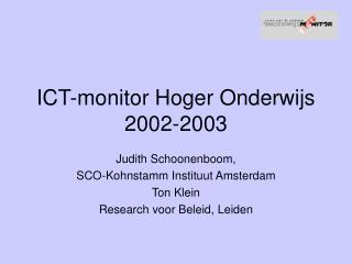 ICT-monitor Hoger Onderwijs 2002-2003