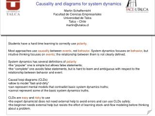 Causality and diagrams for system dynamics