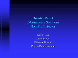 Disaster Relief  E-Commerce Solutions Non-Profit Sector
