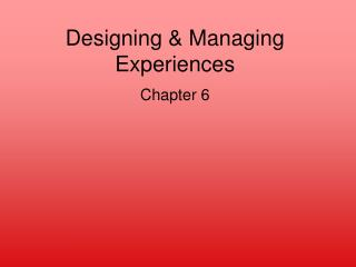 Designing  Managing Experiences Chapter 6