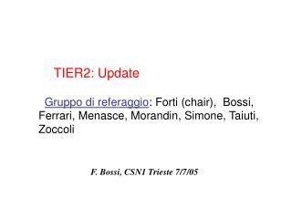 Gruppo di referaggio : Forti (chair),  Bossi, Ferrari, Menasce, Morandin, Simone, Taiuti, Zoccoli