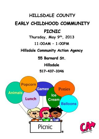 HILLSDALE COUNTY EARLY CHILDHOOD COMMUNITY PICNIC