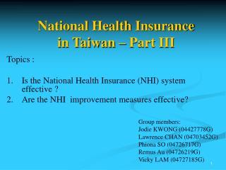 National Health Insurance  in Taiwan – Part III