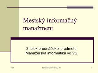 Mestský informačný manažment