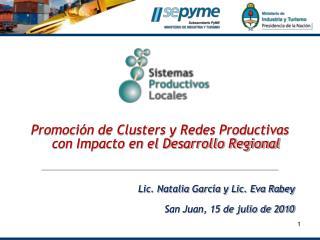 Promoci�n de Clusters y Redes Productivas con Impacto en el Desarrollo Regional