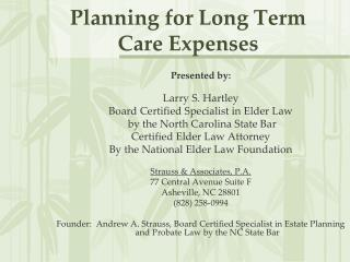 Planning for Long Term Care Expenses