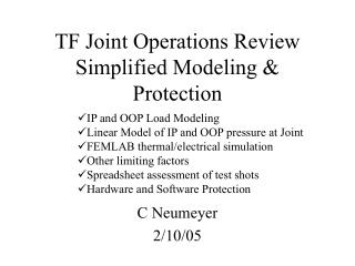 TF Joint Operations Review Simplified Modeling & Protection