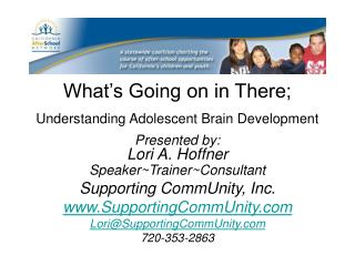 What's Going on in There;   Understanding Adolescent Brain Development