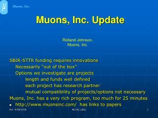 Muons, Inc. Update