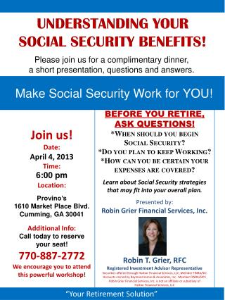 Join us! Date: April 4, 2013 Time: 6:00 pm Location: Provino's 1610  Market Place  Blvd.