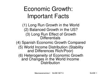Economic Growth:  Important Facts