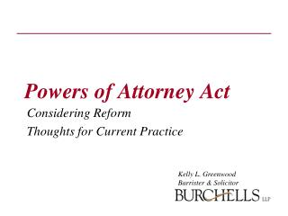Powers of Attorney Act