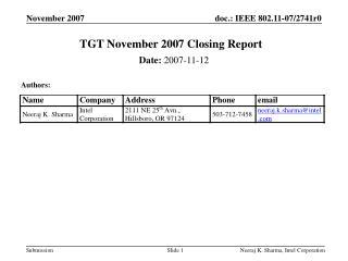 TGT November 2007 Closing Report
