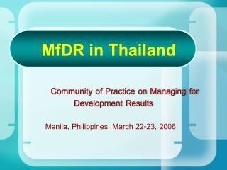 MfDR in Thailand