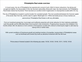 Philadelphia Real estate overview
