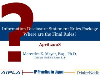 Information Disclosure Statement Rules Package  Where are the Final Rules?