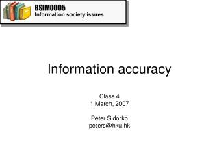 Information accuracy