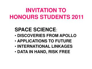 INVITATION TO  HONOURS STUDENTS 2011