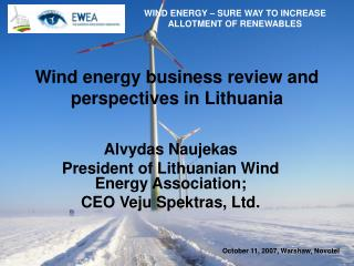 Wind energy business review and perspectives in Lithuania