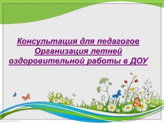 Консультация для педагогов Организация летней оздоровительной работы в ДОУ