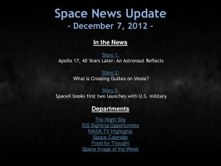 Space News Update - December 7, 2012 -