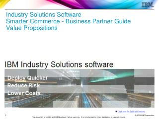 Industry Solutions Software  Smarter Commerce - Business Partner Guide Value Propositions